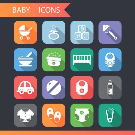 bebé y la infancia iconos y símbolos planas conjunto de vectores