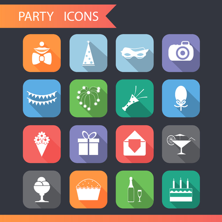 Flat Birthday Party Celebrate Icons and Symbols Set Vector Illustration Vector