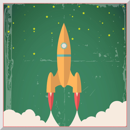 Retro Flat Design Rocket Start Space Stars Background Vector Illustration Vector