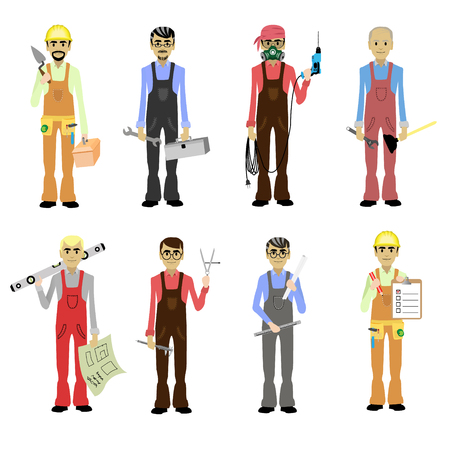 Cartoon Professions Set Worker, Builder, Foreman, Engineer, Plumber, Carpenter, Electrician, Mason, Master Isolated Vector Illustration