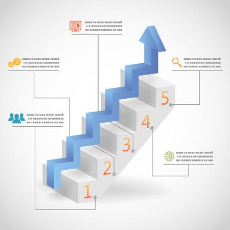bajando escaleras: 3d �xito Pasos Concepto Flecha y escalera Infograf�a Iconos Vector Ilustraci�n