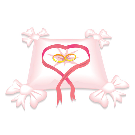 wedding rings on a beautiful pillow Vector