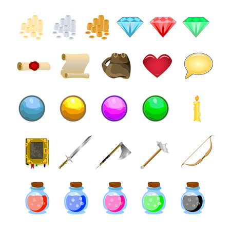 rpg: RPG game icons set potions, buttons, weapons, scrolls, money, crystals, books, warrior, mage vector illustration Illustration
