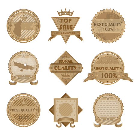 Worn Retro Abstract Signs Sale Badges Isolated Vector Illustration Vector