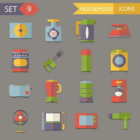 home video camera: Retro Flat Household Icons Symbols Set Vector Illustration