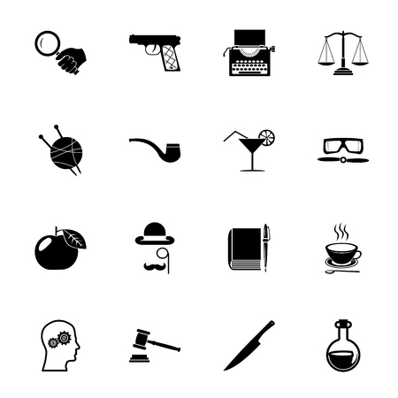 Detective Icons Symbols Isolated Silhouette Set Vector Illustration Vector