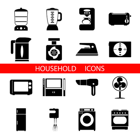 double boiler: Household Icons Symbols  Isolated Silhouette Set Vector Illustration Illustration