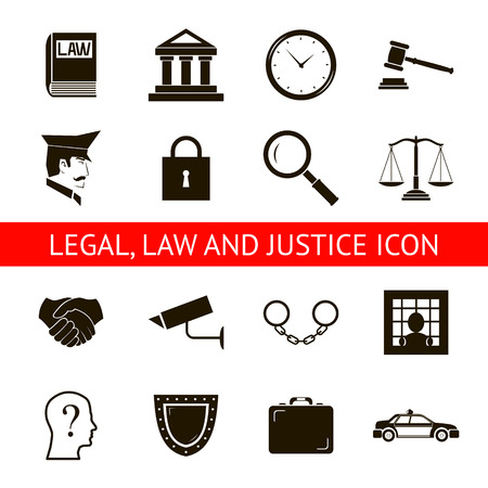 Recht Juridische Justitie Pictogrammen symbolen geïsoleerd Silhouet Vector Illustratie