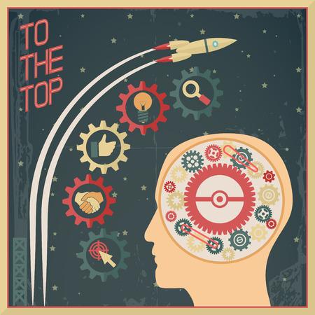 Retro flat Design Businessman Head Thought Idea Generation Gear Wheel Icons Space Background Vector Illustration Vector