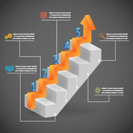 3d Success Steps Concept Arrow and Staircase Infographic Icons Vector Illustration
