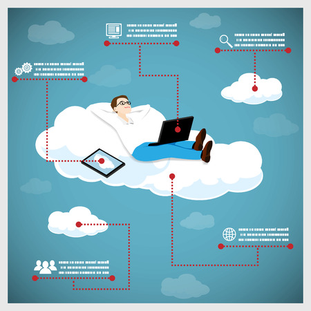 clouding: Happy Business Man on Cloud Infographic Icons Tablet Computer Vector Illustration Illustration
