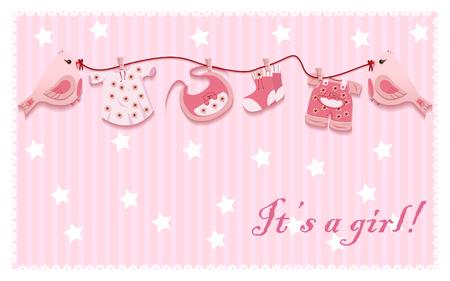 ropa colgada: Cuerda Pink Girl Birds lavandería Tarjeta del bebé del paño plantilla Ilustración vectorial