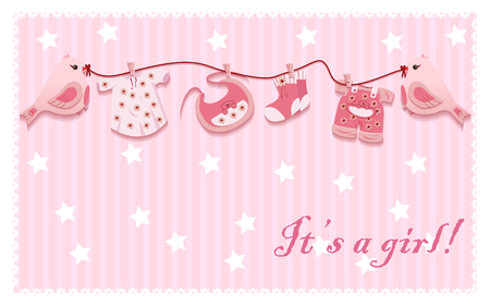 CLOTHES HANGING: Pink Girl Birds Laundry rope Baby Cloth Card Template Vector Illustration