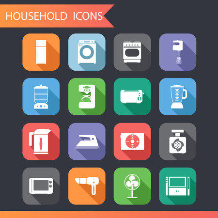 double boiler: Flat Household Icons and symbols Set Vector Illustration Illustration