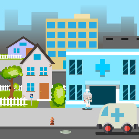 nurse home: Cartoon Street Hospital Ambulance car Doctor Vector Illustration Illustration