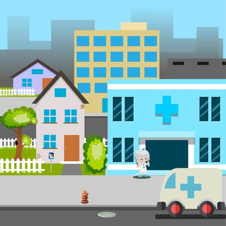 enfermera con cofia: Ilustraci�n del coche de la calle de la historieta del Hospital Ambulancia M�dico Vector