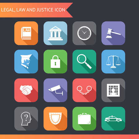 law symbol: Flat Law Legal Justice Icons and symbols Vector Illustration
