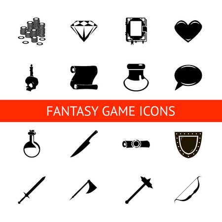 rpg: game icons set potions,  crystals, books, warrior, mage vector illustration