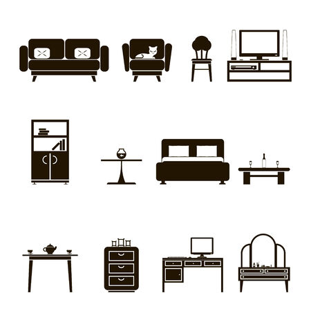 Furniture Icons and Symbols isolated Silhouette Set Vector Illustration Vector