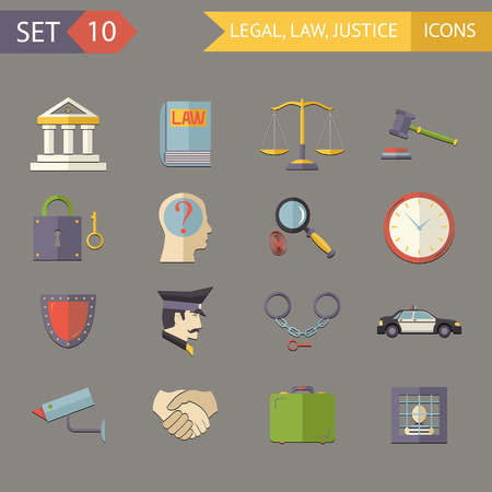 justice hammer: Retro Flat Law Legal Justice icons and Symbols Set Vector Illustration