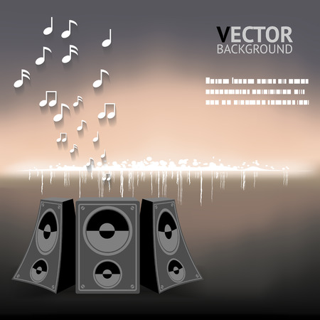 loud speaker: Abstract Night Music Notes speaker Background Vector Illustration Illustration