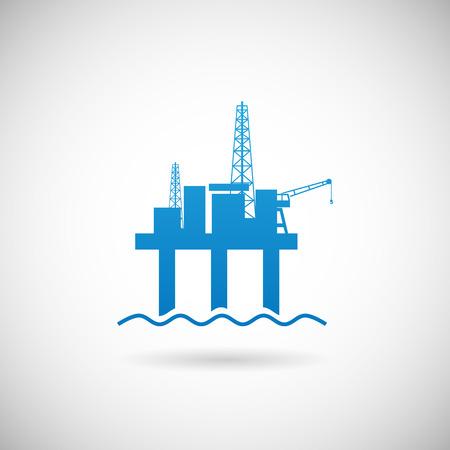 torres petroleras: Offshore Oil Plataforma Coloquialmente plataforma Símbolo Icono plantilla de diseño en fondo gris Vectores