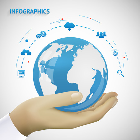 hands holding globe: Hand Holding Earth infographics Connection Icons