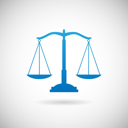 Law Symbol Justice Scales Icon design Template on Grey Background