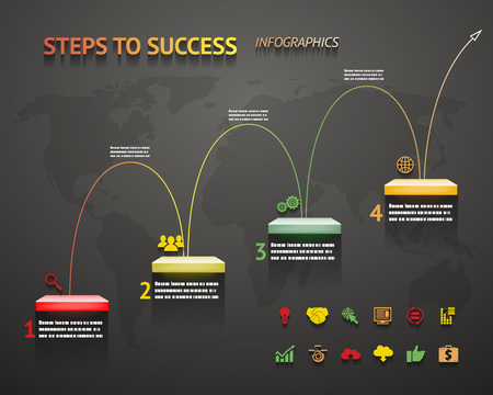 going up: Success Option Steps Template arrow and Staircase Infographic Icons
