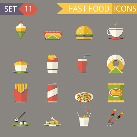 fried noodles: Retro Flat Fast Food Icons and symbols Set Vector Illustration
