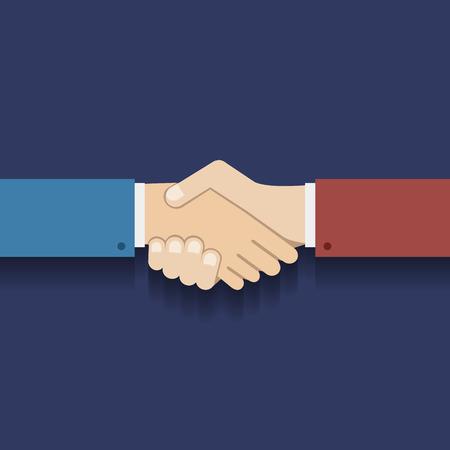 hand shake: Symbol Design Partnership Flat Ilustración del hombre de negocios apretón de manos Vector Vectores