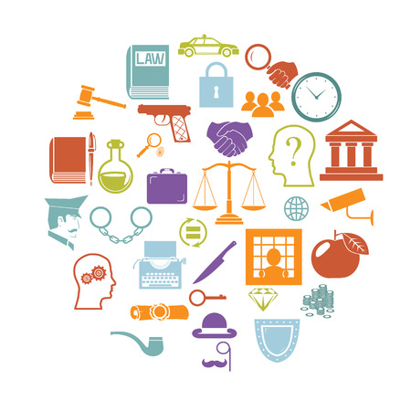 sentence: Round Card with Retro Flat Law legal Justice Icons and Symbols Isolated Set Vector Illustration