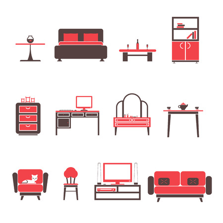 Flat Furniture Icons and Symbols Set for living Room Isolated Vector Illustration Vector