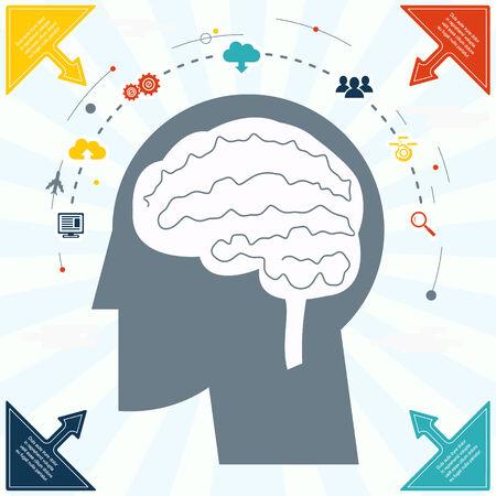 network and media: Flat Businessman Brain Headmind social Network Media Icon Infographics Vector illustration