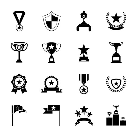 Awards Symbols and Trophy silhouette Icons Set Isolated Vector Illustration Vector