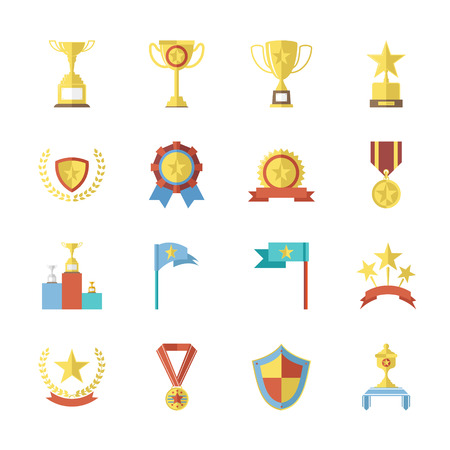 Flat Design Awards Symbols and trophy Icons Set Isolated Vector Illustration Vector