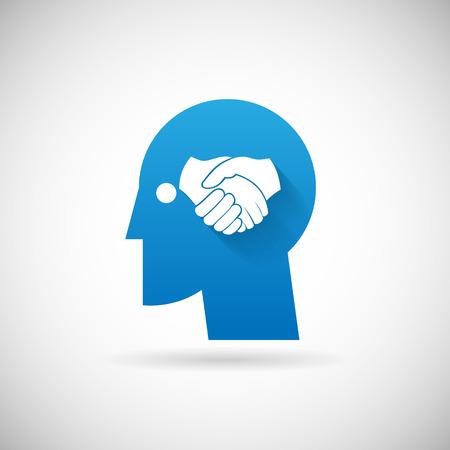 head silhouette: Partnership Symbol Handshake in Head silhouette  Icon Design Template Vector Illustration