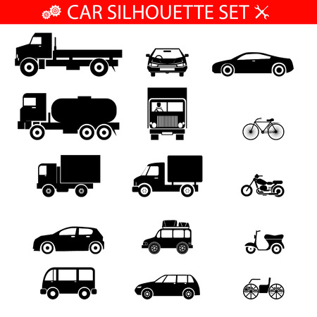 convertible car: Car Silhouette Icons  Vehicles and transport Set Isolated Vector Illustration