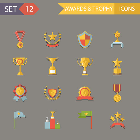 Flat Design Awards Symbols and trophy Icons Set Vector Illustration Vector
