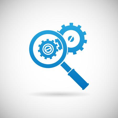 Řešení problémů Symbol Zvětšovací sklo a Gears Icon design šablony vektorové ilustrace