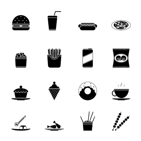 fried noodles: Fast Food Icons and Symbols Silhouette set Vector Illustration