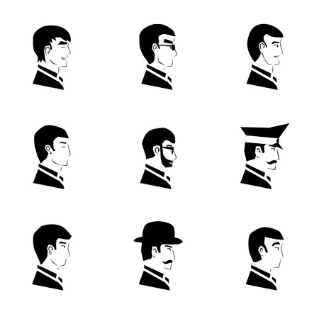 Avatar Collection of Stylish Handsome male Characters Silhouette Icons Vector Illustration