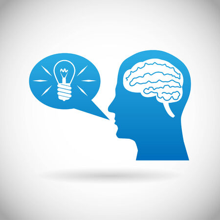 bubble speach: Headmind Brain in Head Silhouette Generate Lamp Idea Manifest in a Speach Bubble Vector Illustration