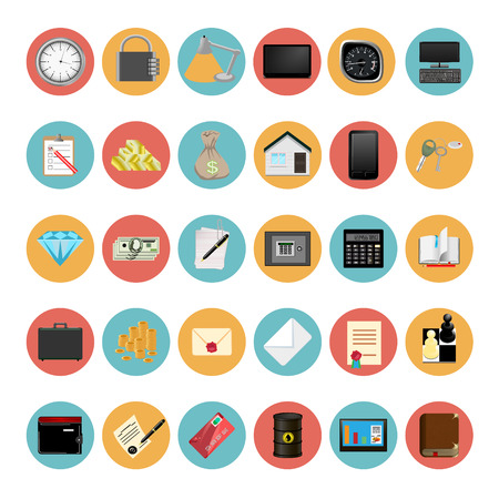 Modern business technology Icons Set Vector Illustration Vector