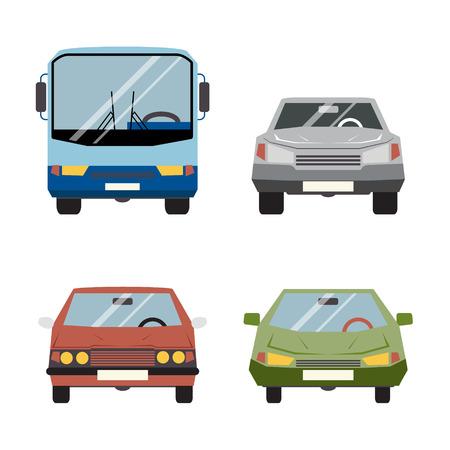 Retro Flat Car Icons Set vector Illustration Vector