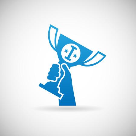 champ: Success Achievement Symbol hand raises Prize Award Cup Icon Design Template