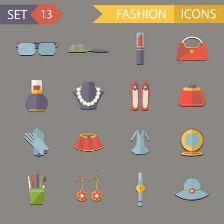 eau de perfume: Flat Design Fashion Symbols accessories Icons Set  Illustration