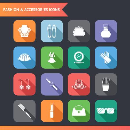 woman accessories: Flat Fashion Symbols accessories Icons Set