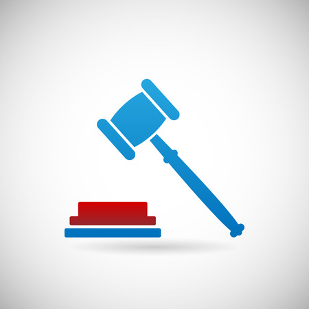 bidder: Judgment Verdict Symbol Judge gavel Icon Template on Gray Background