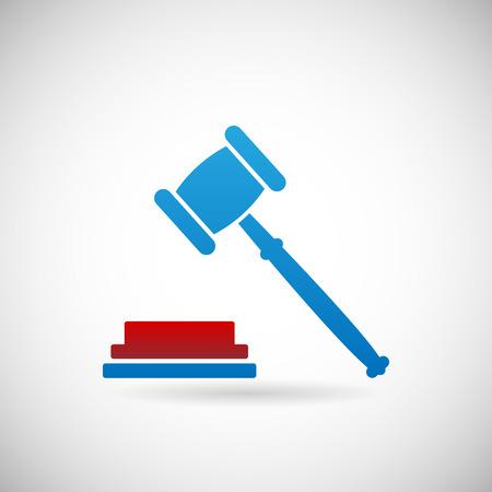 verdict: Judgment Verdict Symbol Judge gavel Icon Template on Gray Background